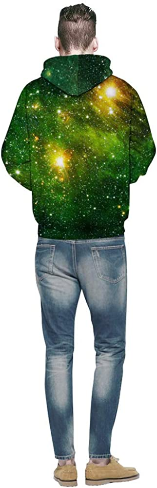 Unisex Green Stars Sky Sweatshirt Clothes Hooded Pullover Hoodie Casual Top