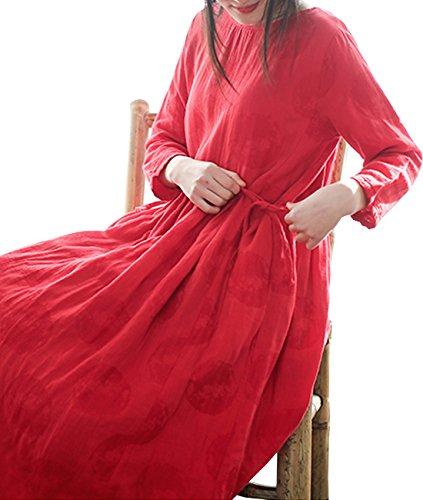 YESNO EA5 Women Casual Loose Jacquared Swing Dress 100% Linen Gathered Waist 3/4 Sleeve Pocket