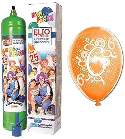 25 Globos surtidos 6 ° Cumpleaños más bombona Gas helio ...