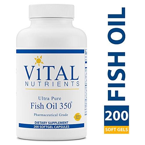 Vital Nutrients - Ultra Pure Fish Oil 350 (Pharmaceutical Grade) - Wild Caught Deep Sea Fish Oil, Cardiovascular Support, Natural Lemon Flavor - 200 Softgels per Bottle