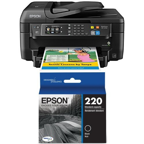 Epson WF-2760 All-in-One Wireless Color Printer with Scanner, Copier, Fax, Ethernet, Wi-Fi Direct & NFC and Epson DURABrite Ultra Standard-Capacity Ink Cartridge, Black (T220120) Bundle