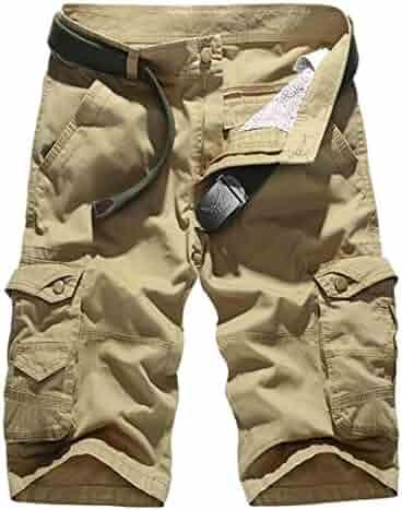 e6eada412f Oberora-Men Classic Multi Pockets Solid Rugged Outdoor Bermuda Cargo Shorts