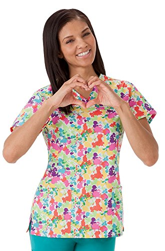 Classic Fit Collection by Jockey Women's Crossover V-Neck Abstract Print Scrub Top Large Print (Print 2560)