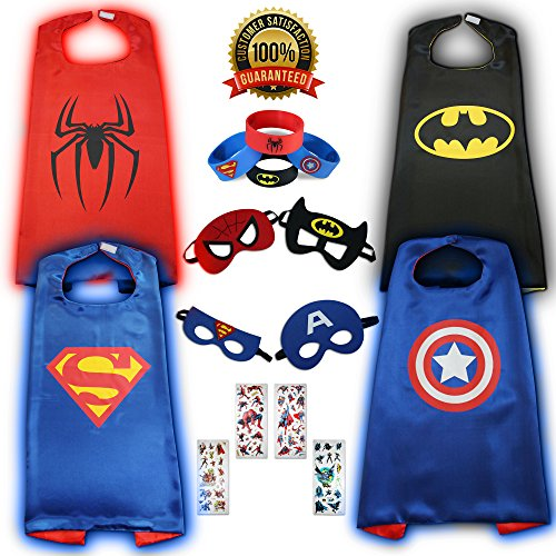 KidsLuvFun Super Hero Capes For Kids - Set Of 4 incl. Capes Masks Wristbands & Stickers (Gift Boy Stickers)