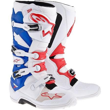 Alpinestars Tech 7 Laarzen, Primaire Kleur: Wit, Maat: 5, Afzonderlijke Naam: Patriot, Geslacht: Heren / Unisex 20120142735