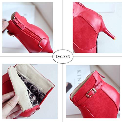 Talon Pointu Bi Elégante Chaussures Hiver Boots Aiguille Rouge matière Oaleen Bottines Lucky Femme 1zAXXF