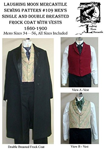 - Men's Single & Double Breasted Frock Coats with 2 Vests Sewing Pattern #109 (Pattern Only)