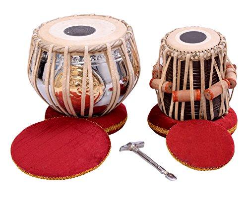 TABLA DAGGA SET~BRASS DUGGA~WOOD TABLA~INDIAN DRUM BAG~HAMMER~KHITTI by NASIR ALI