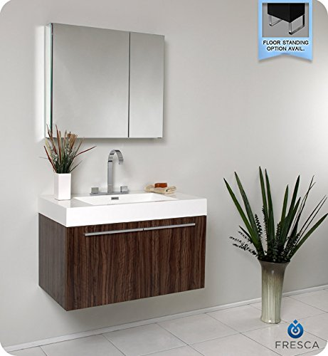 W Vista Vanity with Medicine Cabinet, Walnut (Fresca Vista Walnut)