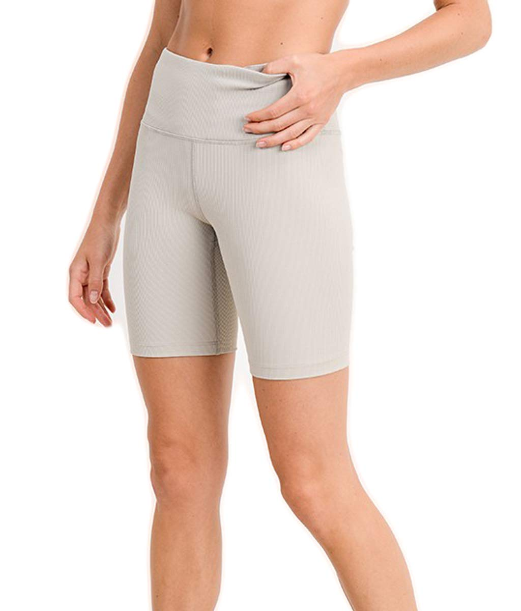 CNC STYLE B018 Women's Knee Length Stretchy Workout Yoga Ribbed Biker Shorts Leggings High Waisted Bermuda Tights, Grey, Medium by CNC STYLE