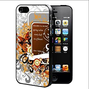 Autumn Colors and Quote with Floral and Butterflies Vector (iPhone 4/4s) Rubber Silicone TPU Cell Phone Case by lolosakes