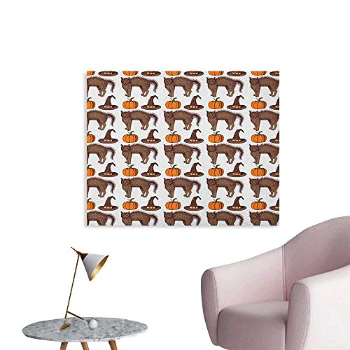 Anzhutwelve Halloween Photographic Wallpaper Seasonal Vintage Pattern with Pumpkin Squash Witch Hats and Cat Figures The Office Poster Brown Orange Green W28 xL20 ()
