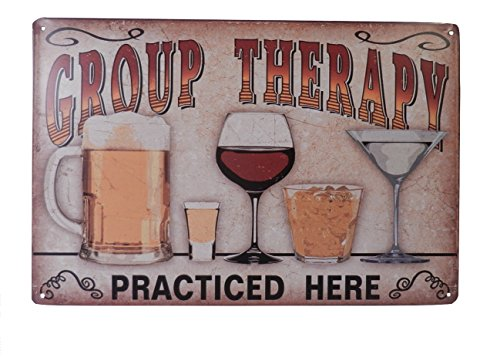 Beer Alcohol Drinking Group Therapy Funny Tin Sign Bar Pub Diner Cafe Wall Decor Home Decor Art Poster Retro Vintage ()