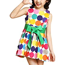 MFrannie Girls Colorful Bubble Dot Printed Casual With Belt Tank Dress