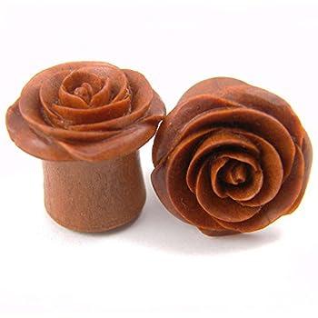 "Rose Flower Ear Gauge Plugs - (7/16"") - Sawo / Sabo Wood"