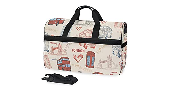 TFONE England London Theme Duffel Bag Sports Gym Weekend Bags with Shoe Compartmen