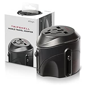 Tripshell International TR-Adap-BK Travel Plug Adapter With Surge Protection, Retail Package (Black)