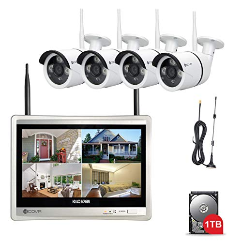 Forcovr Security Camera System Wireless Home Surveillance Camera System 4CH 1080P 12.5inch LCD Monitor with 4PCS 1.3 Megapixel WiFi Night Vision IP Cameras, 1TB HDD Pre-installed
