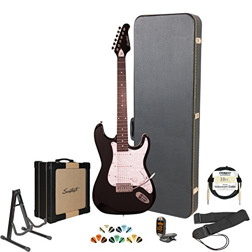 Sawtooth ST-ES-BKP-KIT-4 ST Style Electric Guitar with ChromaCast Hard Case & Accessories, Black