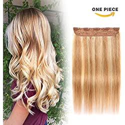 Winsky Clip in Real Hair Extensions Human Hair 5clips 55g – One Piece Soft Straight 3/4 Full Head Hair Pieces for Women (16inch, Ash Blonde to Bleach Blonde #18-613 Color)