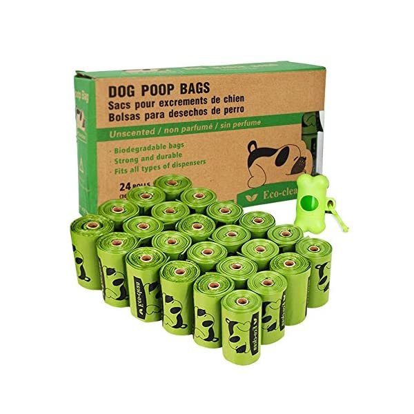 Poop Bags Biodegradable, 24 Rolls/360 Bags with Dispenser, Dog Waste Bags, Unscented, Leak-Proof, Easy Tear-Off