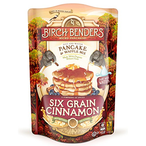 (Six Grain Cinnamon Pancake and Waffle Mix by Birch Benders, Made with Organic Ingredients, Whole Grain, Non-GMO, 16oz)