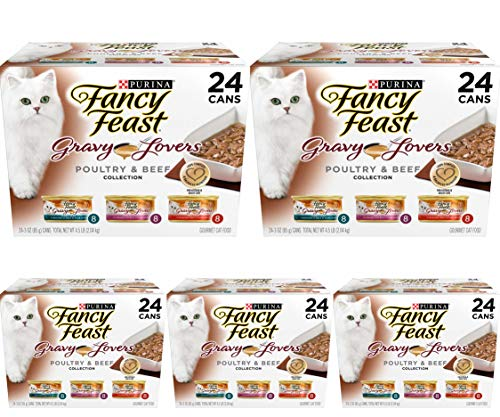 Purina Fancy Feast Gravy Lovers Poultry & Beef Feast Collection Wet Cat Food Variety Pack - (24) 3 Oz. Cans - 5 Pack