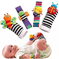 1 X Baby Socks Toys Wrist Rattles and Foot Finders Set 4pc New Style