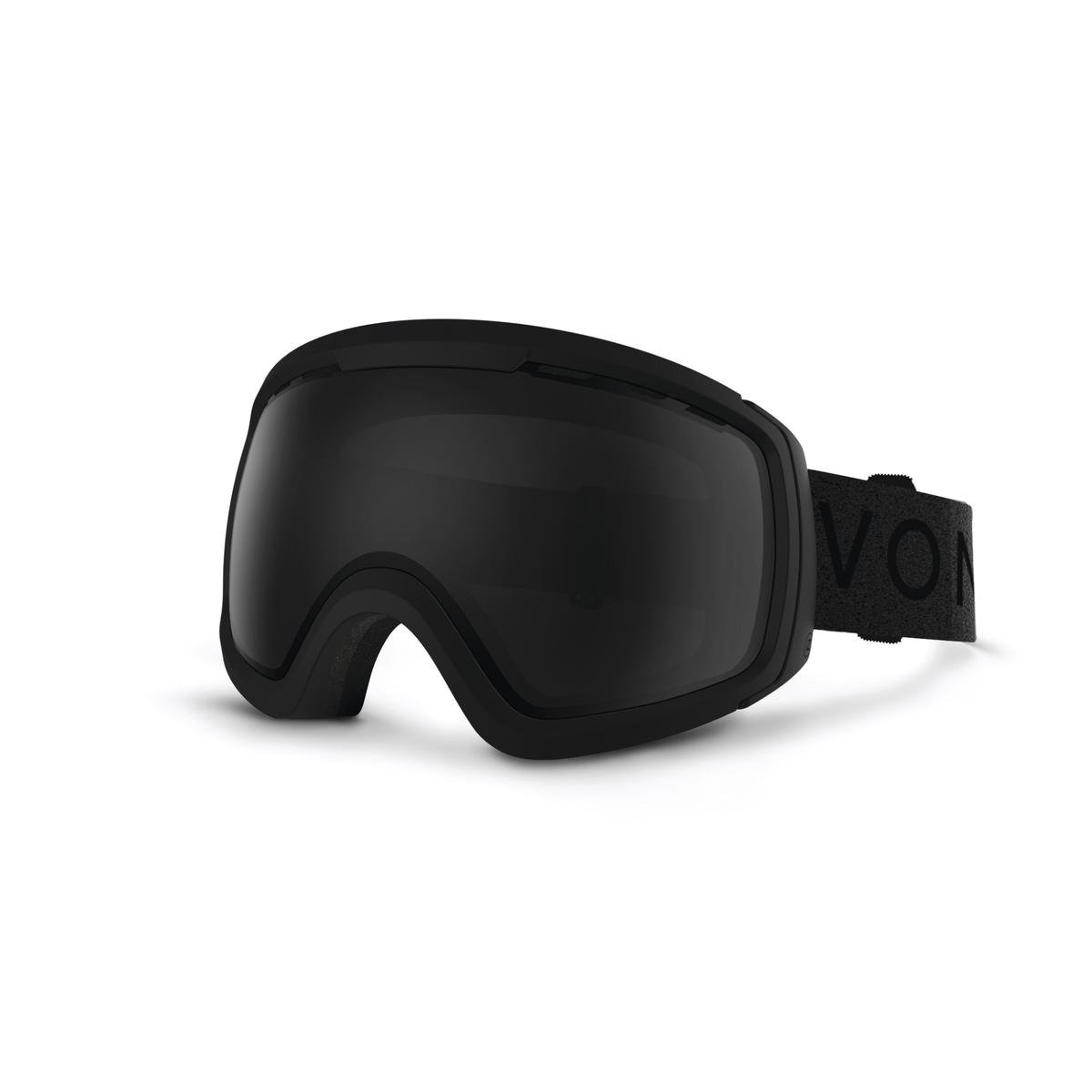 VonZipper Freenom NLS Men's Snow Racing Snowmobile Goggles Eyewear - Black Satin/Blackout / One Size Fits All