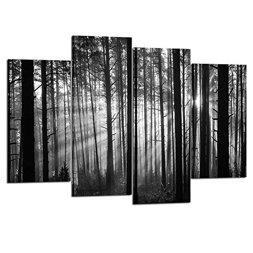Kreative Arts - 4 Pieces Forest Canvas Wall Art Black and White Tree Wood Sunset Landscape Picture Prints on Canvas for Home Living Room Decor (Ft White 1 Christmas Tree)
