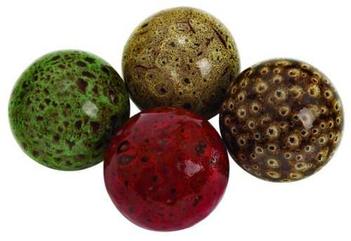 Balls Glass Decorative (Deco 79 Ceramic Ball, 19.5 by 15-Inch, Set of 4)