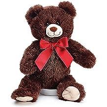 Burton and burton brown teddy bear red ribbon 12 inch