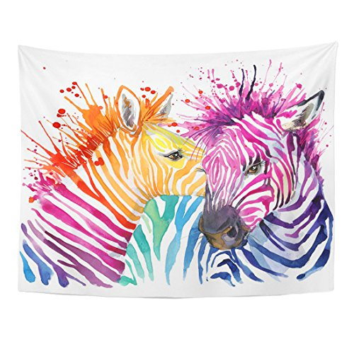 Emvency Tapestry Colorful Animal Funny Zebra Graphics Rainbow Splash Watercolor Paint Home Decor Wall Hanging for Living Room Bedroom Dorm 60x80 Inches