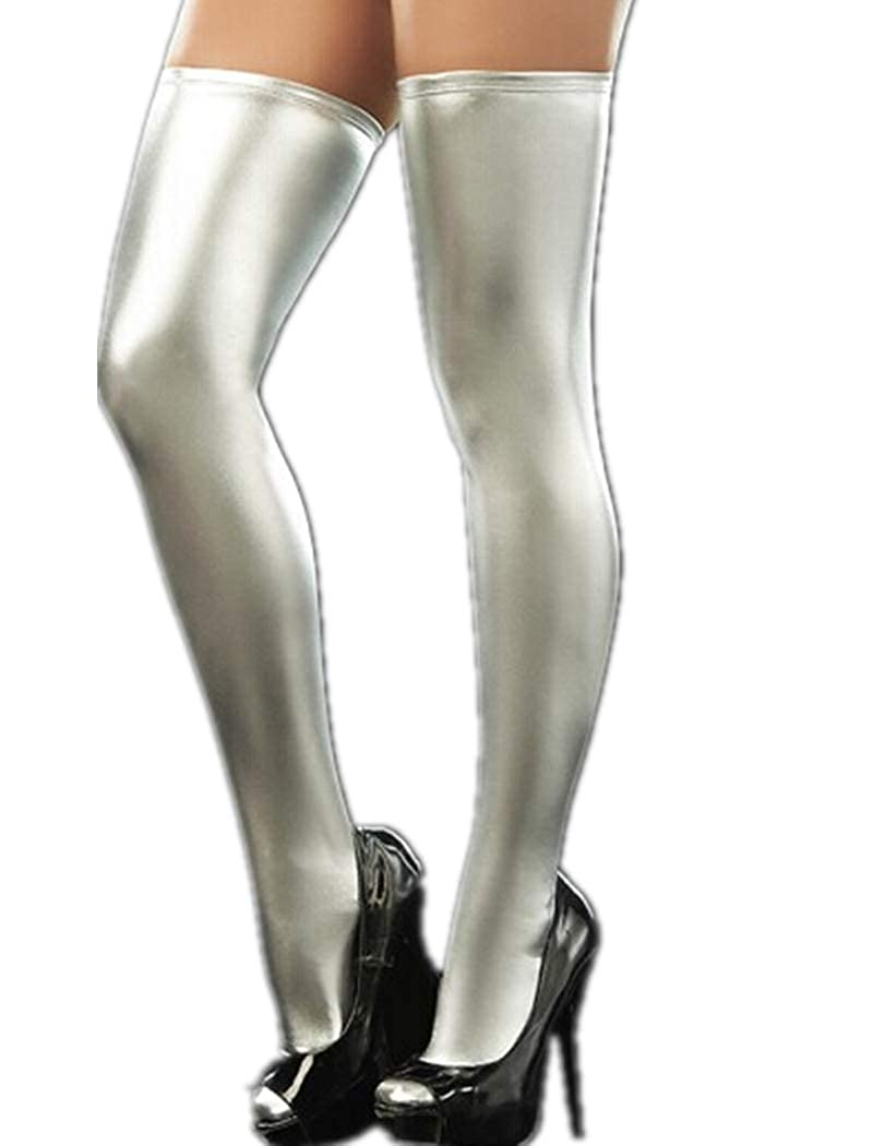 FONDBERYL Women's Wet Look Thigh High Stockings Trim Hold-ups Metallic Clubwear Party