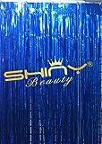 ShinyBeauty Foil Fringe Blue-6FTX10FT,Foil Fringe Backdrop/Curtains,Metallic Photo Backdrops Party/Event Decoration