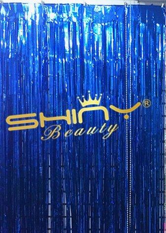 ShinyBeauty Foil fringe-curtain-9ftx8ft-blueメタリックShinyカーテン/のパーティーの背景写真バックドロップ、パーティー/誕生日/ウェディングデコレーション   B01M358CR4