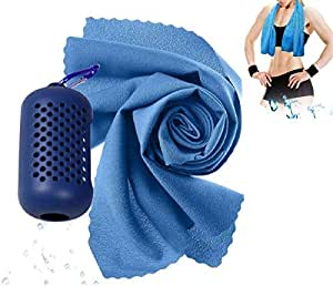 Cooling Towel Quick Dry Towel for Sports, Swimming, Fitness, Yoga, Pilates,Backpacking,Travel, Camping - with Mini Silicone Carry Case