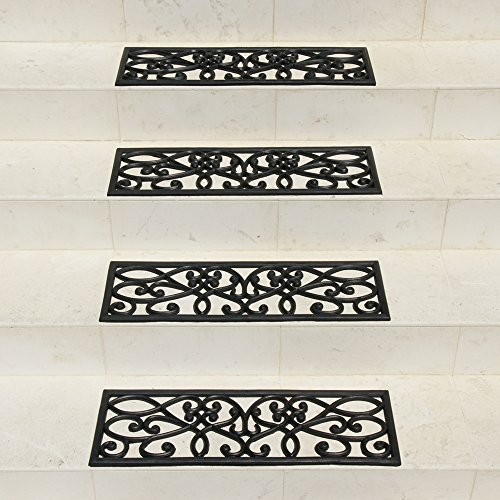 Rubber-Cal 6-Piece New Amsterdam Non-Slip Treads Rubber Step Mats, 9.75 by 29.75-Inch, Black (Outdoor Step Tread Mats)