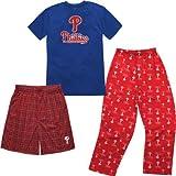 MLB Philadelphia Phillies T-shirt Boxer & Pant 3 Piece Sleep Set (Medium (10-12))