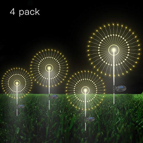 Outdoor Solar Garden Lights Warm- Color Solar Powered Decorative Stake Landscape Light DIY Flowers Fireworks Stars for Walkway Pathway Backyard Party Decor (4 Pack) ()