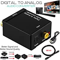 KSRplayer Digital Audio Converter Optical SPDIF Toslink Coaxial to Analog RCA L/R Adapter with 3.5mm Jack