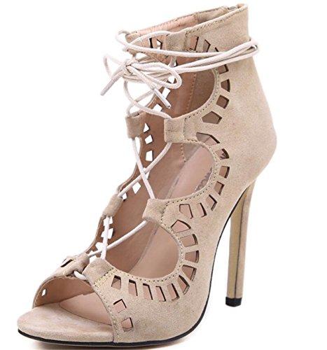 SHUNLIU Damen Sandalen High Heels Frauen Sommer Stiletto Sandalen mit Schnürung Sandalen Mit Absatz Aprikose