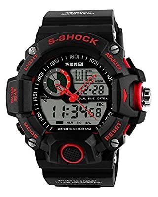 COCOTINA Mens Digital 50M Waterproof LED Alarm Multifunction Boy Sport Wrist Watch Red