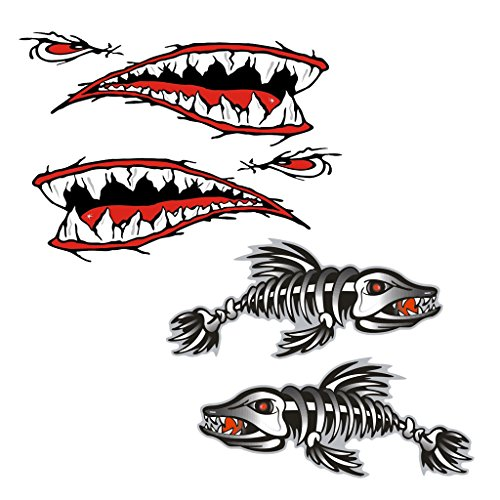 4 Pieces Skeleton Fish Shark Mouth Canoe Kayak Decals Fishing Boat Graphics ()