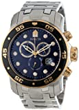 Invicta Men's 80041 Pro Diver Chronograph Blue Dial Stainless Steel Watch, Watch Central