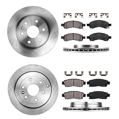FRONT 325 mm + REAR 331 mm Premium OE 6 Lug [4] Rotors + [8] Quiet Low Dust Ceramic Brake Pads + Clips