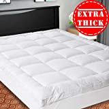 Down Alternative Mattress Topper SOPAT Extra Thick Mattress Topper(Queen),Cooling Mattress Pad Cover,Pillow Top Construction(8-21Inch Deep Pocket),Double Border,Hypoallergenic Down Alternative Fill,Breathable