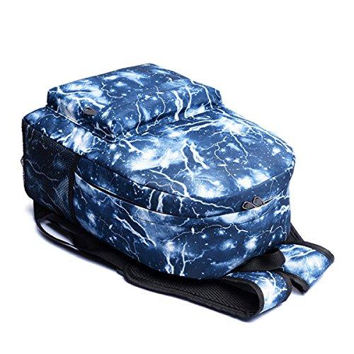 Unisex Lona Mochila De La Escuela De La Galaxia Mochila Del Recorrido Mochila De La Bolsa Satchel Azul Negro Blue
