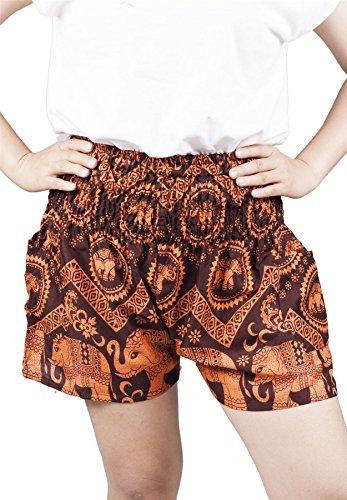 Lofbaz Women's Rayon Elephant Shorts Smock Batyr Orange (Short Smock)