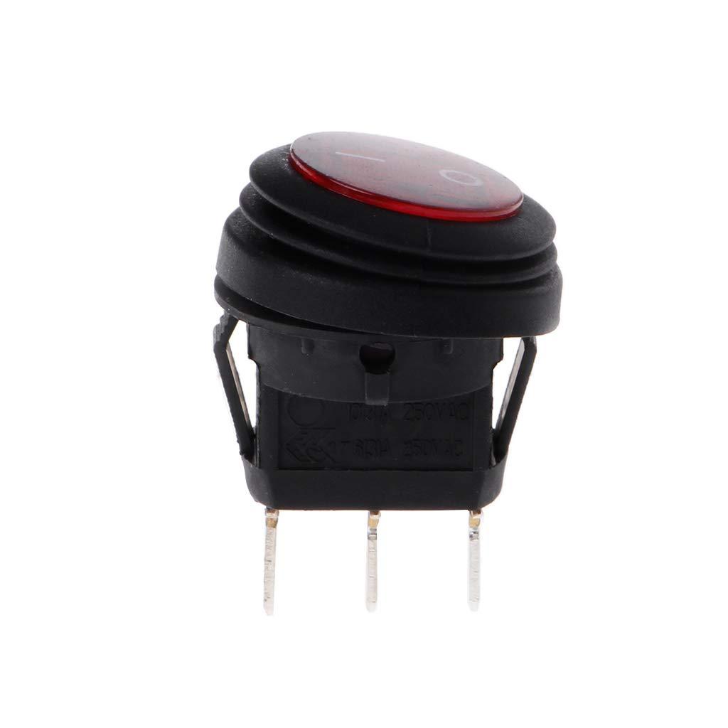 YoungerY LED Redondo 220V 6A 3 Pin en Apagado Interruptor basculante Impermeable Auto Barco SPST Marine